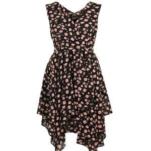 Topshop Romantic High Low Floral Wrap Dress Size 6